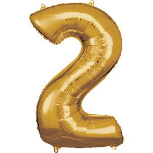 Amscan Balónik fóliový narodeninové číslo 2 zlatý 86cm
