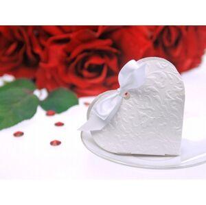 PartyDeco Krabička Srdce biele s mašličkou