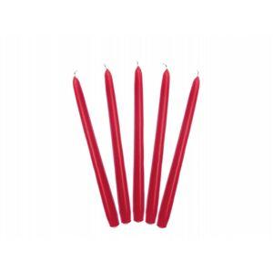 PartyDeco Kónická sviečka červená - matná 24 cm