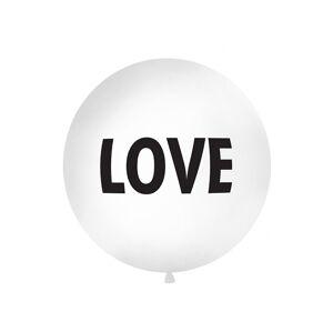 PartyDeco Guľatý latexový jumbo balón 1M biely LOVE