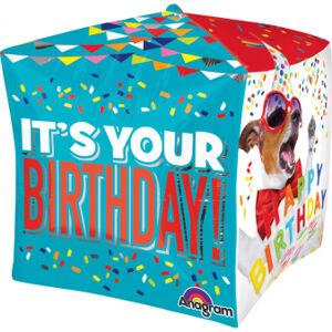 Amscan Fóliový balón Happy Birthday - kocka 38 x 38 cm