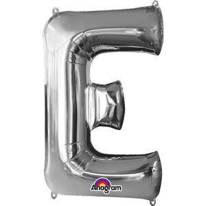 Amscan Fóliový balónik písmeno E 86 cm strieborný
