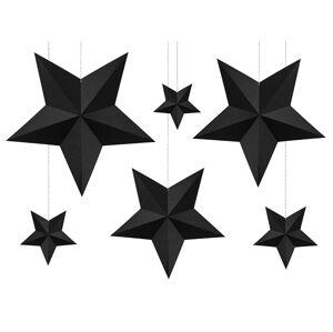 PartyDeco Dekorácia Hviezdy - čierne 6 ks