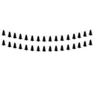 PartyDeco Girlanda Vianočné stromčeky - čierna