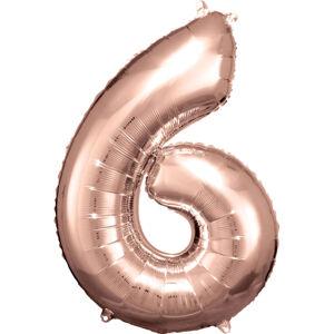 Amscan Balónik fóliový narodeninové číslo 6 ružovo-zlatý 86 cm