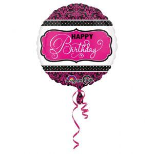 Amscan Fóliový balón Happy Birthday ružovo čierny 43 cm
