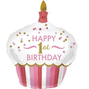 Amscan Ružový balón v tvare cupcake - 1. narodeniny