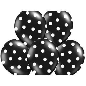 PartyDeco Bodkovaný balónik čierny