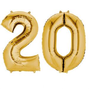 Amscan Fóliový balón v tvare čísla 20 zlatý