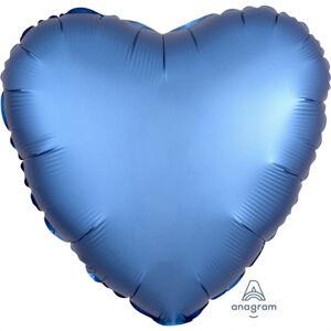 Amscan Fóliový balón srdce satén - modrý 43 cm