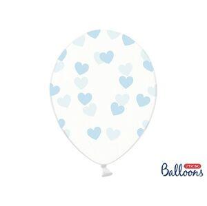 PartyDeco Balónik - Priesvitný s modrými srdiečkami