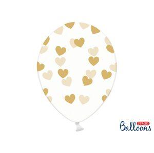 PartyDeco Balónik - Priesvitný so zlatými srdiečkami