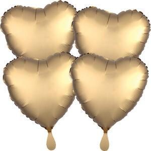 Amscan Fóliové balóny sada srdce satén - zlaté 4 ks