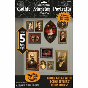 Amscan Nálepky strašidelných gotických portrétov 165 x 85 cm