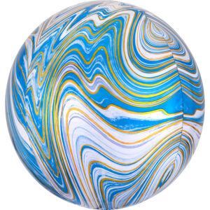 Amscan Guľatý fóliový balón- mramorový modrý