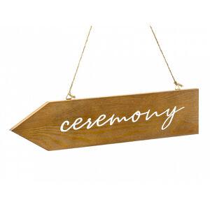PartyDeco Drevená dekorácia - smerovka Ceremony, hnedá