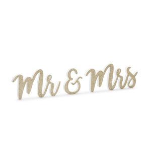 PartyDeco Drevená dekorácia na stôl - Mr & Mrs, zlatá