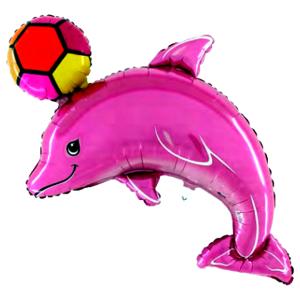 BP Fóliový balón - delfín s loptou (ružový)