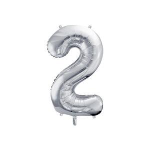 PartyDeco Fóliový balón narodeninové číslo 2 strieborný 86cm