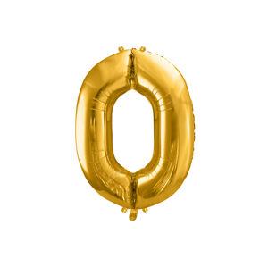 PartyDeco Fóliový balón narodeninové číslo 0 zlatý 86cm