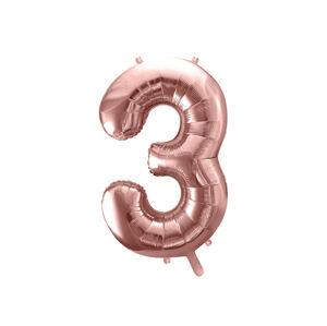 PartyDeco Fóliový balón narodeninové číslo 3 ružovo-zlatý