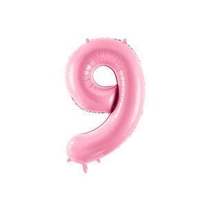 PartyDeco Fóliový balón narodeninové číslo 9 ružový 86cm