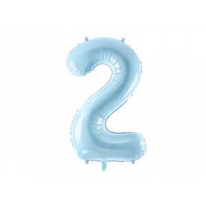 PartyDeco Fóliový balón narodeninové číslo 2 svetlomodrý