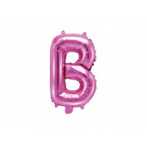 PartyDeco Fóliový balón Mini - Písmeno B 35 cm ružový