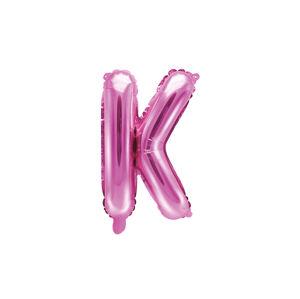PartyDeco Fóliový balón Mini - Písmeno K 35 cm ružový