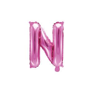 PartyDeco Fóliový balón Mini - Písmeno N 35 cm ružový