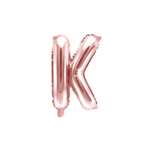 PartyDeco Fóliový balón Mini - Písmeno K 35 cm ružovo-zlatý