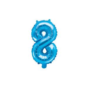 PartyDeco Fóliový balón Mini - Číslo 8 modrý 35cm