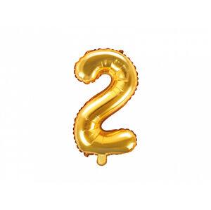 PartyDeco Fóliový balón Mini - Číslo 2 zlatý 35cm