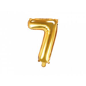 PartyDeco Fóliový balón Mini - Číslo 7 zlatý 35cm