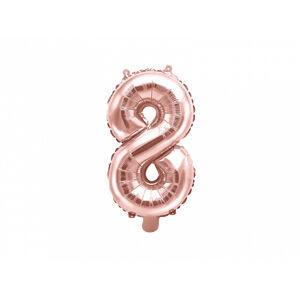 PartyDeco Fóliový balón Mini - Číslo 8 ružovo-zlatý
