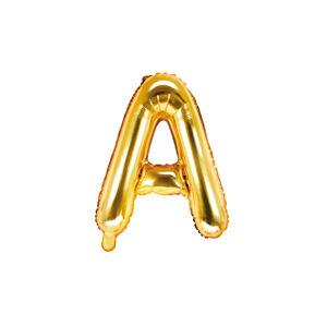 PartyDeco Fóliový balón Mini - Písmeno A 35cm zlatý