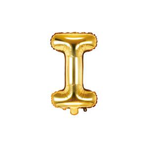 PartyDeco Fóliový balón Mini - Písmeno I 35cm zlatý