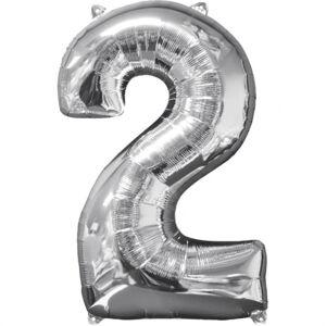 Amscan Fóliový balón narodeninové číslo 2 strieborný 66cm