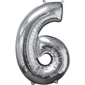 Amscan Fóliový balón narodeninové číslo 6 strieborný 66cm
