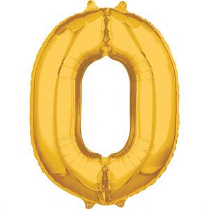 Amscan Fóliový balón narodeninové číslo 0 zlatý 66cm