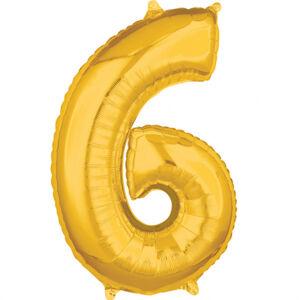 Amscan Fóliový balón narodeninové číslo 6 zlatý 66cm