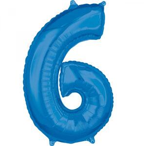 Amscan Fóliový balón narodeninové číslo 6 modrý 66cm