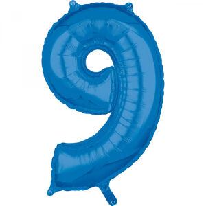 Amscan Fóliový balón narodeninové číslo 9 modrý 66cm
