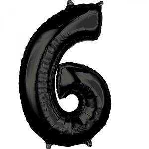 Amscan Fóliový balón narodeninové číslo 6 čierny 66cm