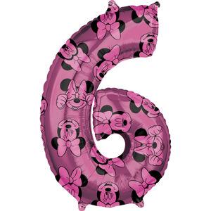 Amscan Fóliový balón narodeninové číslo 6 - Minnie 66 cm
