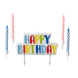 Amscan Set sviečok na tortu Happy Birthday 5 ks