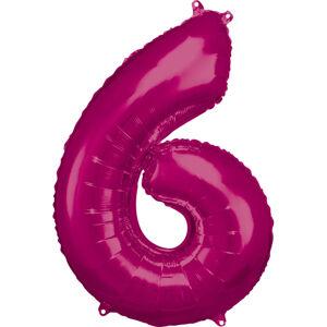 Amscan Balónik fóliový narodeninové číslo 6 ružový 86 cm