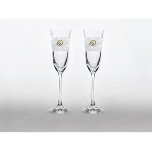 PartyDeco Svadobné poháre so zlatými srdiečkami