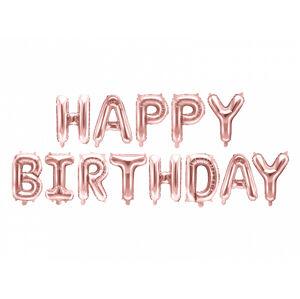 PartyDeco Fóliový balón - Happy Birthday ružovo-zlatý