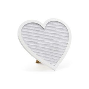 PartyDeco Svadobná tabuľa - Biele srdce 31 x 29 cm